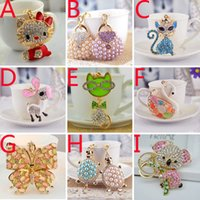 Wholesale 2015 fashion rhinestone keychain Little Donkey KT cat tortoise Butterfly cartoon pendant metal key chain children christmas gift HX