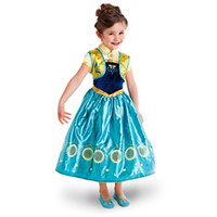 Wholesale 2015 New Anna Girls Cosplay Party Dresses Frozen Movie Kids Princess Flower Dress For Elsa Costume Summer Kids Outfits