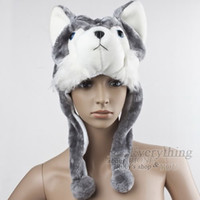 Cheap party fun Soft Cartoon handmade Animal style Wolf Cute Fluffy Hat Cap