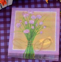 Wholesale 330MMX330Mm tissue paper napkin paper printing handkerchiefs for wedding cafe tissues Decorative purple flower