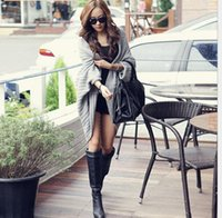 Wholesale Coats For Women Korea - Hot womens warm knitted sweater coat korea fashion ladies loose long Batwing Sleeves woolen Cardigans outwear for winter and autumn C357