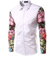 acrylic floral paintings - 2016 new men shirt hot sell shirts men s shirts fashion mens shirts casual slim fit brand luxury french cuff shirts