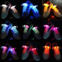 Wholesale 100pcs pair Color LED Shoelaces Luminous Shoe Laces Flash Light Up Glow Stick Strap Shoelaces Disco Hip hop Christmas Party Free DHL UPS