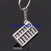 accounting tools - Silvery Chinese Style Accounting Special Purpose Tool Rows Abacus Keychain Key Chain Ring Keyfob Keyring