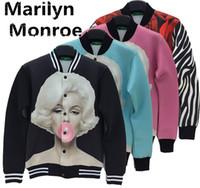 al por mayor chaquetas de abrigo de mujer de color rosa-Alisister mujeres otoño invierno sexy negro / azul / rosa marilyn monroe impresión abrigo chaqueta flor 3d rosa ropa chaqueta larga