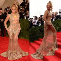 beyonce dresses - Beyonce Met Gala Ball Evening Dresses Candy Colors Crystal Long Mermaid Crew Sheer Lace Celebrity Red Carpet Dresses Prom Gowns