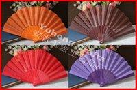 Terylene hand fans - 100pcs Ballet dancing fan Hand Plastic Fan Polyester Fabric Solid Color Fan Single Sided Cloth no logo Fan