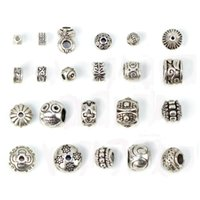beads wholesale bulk - Antique silver tibetan charms big hole beads jewelry making charms DIY European jewelry findings components bulk