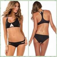 best tankinis - New Summer Sexy Patchwork Bikini Woman Swimsuit Bandage Swimwear Best Soft Swimsuits Bathing Suit Black And White hight quality free ship