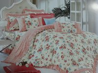 Wholesale Korean winter thick high grade cotton floral quilt bedspreads flounced denim bedding cotton pillowcase