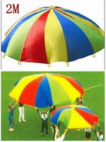 Wholesale 2M inch Nursery Kids Parachute Rainbow Umbrella Outdoor Game Exercise Sport Toy Jump sack Play