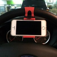 holder - 2015 Car Steering Wheel Mobile Phone Holder Bracket for iPhone S plus Samsung Galaxy S4 S5 S6 Note Smartphone GPS