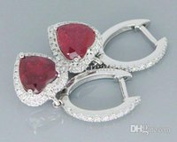 Cheap Wholesale-Heart 6mm 4.35Ct Solid 14Kt White Gold Heated Blood Red Ruby Earrings