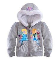 Wholesale Frozen Elsa Anna Children Girls Long Sleeve Hoodied Sweatshirts Kids Clothing Zipper Snow Queen Jacket Childs Fleece Tops Cardigan J2052