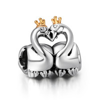 silver flats - Cute Couple Swan Charm Sterling Silver European Floating Charms Bead Fit Pandora Snake Chain Bracelet DIY Jewelry