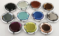Wholesale 60pcs Luxury Folding Pocket Makeup Mirrors Crystal Compact Mirror Wedding Party Gift Personalized Logo on Double Side Face bc601