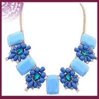 Wholesale Elegant Fashion Vintage Women Tennis Flowers Gemstone Patchwork Ancient Chain Necklace Royal Blue Jewelry