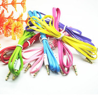 Wholesale DHL Free Colorful Flat Noodle mm Aux Audio Auxiliary Cable Jack Male to Male Plug Stereo Cord Wire for iphone