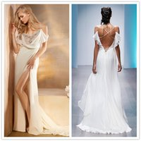 Wholesale Stunning Sexy Beach Wedding Dress Bridal Gown Spaghetti Straps High Slit Flowy Chiffon Wedding Dress Custom Made
