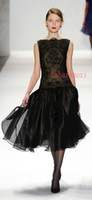 Wholesale Muslim Vintage Black Lace Fitted Short Prom Dress Organza Tea Length Bateau Sheer Abaya Modest Party graduation Formal Dress Spring