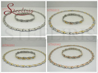 Wholesale Hot Sell New Fashion Stainless Steel Bracelet and Necklace Jewely Suit mm Lady Mix Color Jewelry Gift Promotion For Women