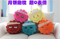 Wholesale Cute QQ expression creative moon cake pillow cushion sofa cushions plush toy Mid Autumn Festival gift to send to friends