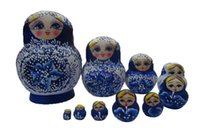 Wholesale 10pcs Hand Painted Cute Wooden Russian Nesting Dolls Dried Basswood Pink Gift Matryoshka Ethnic Doll Blue XX024
