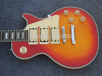 Wholesale ACE signature inlay fretboard cherry burst LP custom electric guitar cream pickups flame maple top guitars