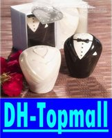 wedding souvenirs - wedding gifts and souvenirs for guest bride and groom ceramic salt and pepper shaker