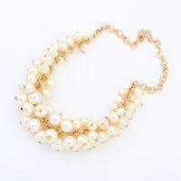 Women's Zinc Alloy Round New Stylish Gold Chain White Faux Pearl Cluster Chunky Choker Bib Statement Necklace Nacklaces & pendants tony660