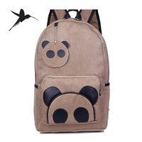 Wholesale New Fashion Canvas Cartoon Backpacks Cute Panda School Bags Casual Daypacks Mochila Bolsas Rucksacks M111