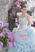 Wholesale 2015 Hot Cheap Quinceanera Dresses Strapless Blue Lace Appliques Beads For Birthday Quinceanera Gowns Ruffles Handmade Flowers Wedding Gown
