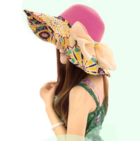 Wholesale Fashion Women s Foldable Wide Brim Hats Floppy Summer Beach Straw Hat Sweet Butterfly Cap Ladies Beach Sun Hat Straw Elegant Bohemia Cap
