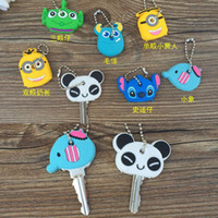 Wholesale Kawaii Key Hooks - Minion key ring Kawaii Cartoon Monsters panda Rubber Key Cover Chain Holder Keychains Key Hook Cap Case Key Coat Wrap mixed styles