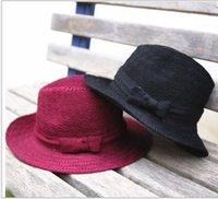 black felt hat - Girls Big Brim Hats Christmas Gift Children Kids Winter Woolen Bowknot Felt Jazz Caps Warmth Fishman Buckrt Hat Red Black K2865