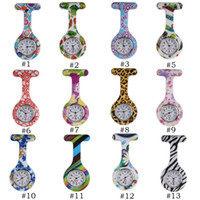 Unisex best nurses watch - Silicone Nurse Watch Candy Colors Zebra Leopard Prints Soft band brooch Pin Watch Best Gift Nurse Watch mix patterns