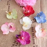 Wholesale 20pcs artificial silk Butterfly orchid cake decoration high quality flower heads feel to spend wedding decoration