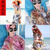 Wholesale Travel essential summer chiffon beach towels Han edition large printing with shawls female thin silk scarves