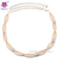 beaded metal mesh - Luxury Design Women Gold Metal Mesh Belt Lady Thin Waist Belt Bride Fashion Wedding Strap Chain Accessories BL YouKee Belt