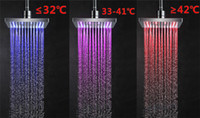 auto rain sensor - 8 quot inch cm Temperature Sensor Square LED Shower Head LED colorful Rain Water waterfall Bathroom Showerhead