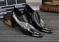 Wholesale Handmade Mens Dress Shoes Gold Dragon Genuine Leather Men Pointed Metal Tip Fashion Glitter Party Shoes