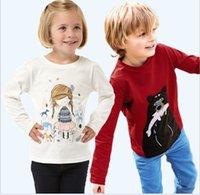 Cheap 6 PCS LOT 2014 New 100% Cotton Girls tees Tops Children T-shirt Baby Girl Long sleeve t shirts Cartoon Blouse Rabbit Cute