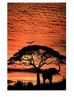 african poster art - African Skies Elephant animal Art Classical moden Home Decor Retro Poster x76cm Wall Sticker