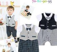 baby vests - 2015 Summer Newborn Baby Child Toddler Boys Infant Gentleman Shirt Pant Bow Tie Vest Black Gray Plaid One Piece Romper S0140272