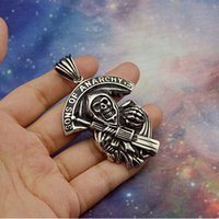 american steel motorcycles - Large SONS OF ANARCHY Pendant in L Stainless Steel NO MOQ for Punk Mens Motorcycle Bikers to be Fashion Necklace