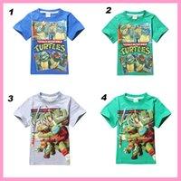 Wholesale 2014 Summer New style Boys TShirts turtles pattern Ninja Turtles Cartoon Short sleeve pure cotton Children TShirt Kids Clothing