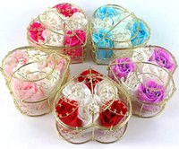 Wholesale High Quality Heart Shaped Iron Basket Rose Soap Flower For Romantic Bath Soap And Gift one box hand made natural material