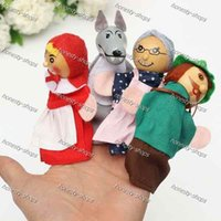 Wholesale Stock ready little red riding hood finger puppets a set of plush wooden doll mother tell baby story