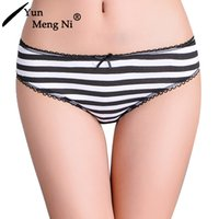 Wholesale women underwear in stock sexy cotton spandex panty fashion striped briefs soft cotton panties for lady