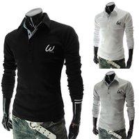 Wholesale Autumn new men s embroidered long sleeved POLO Tee white shirt Slim Korean men long sleeved T shirt